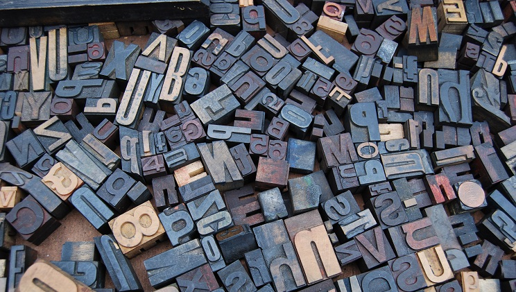 Illustrational image of letters used for printing